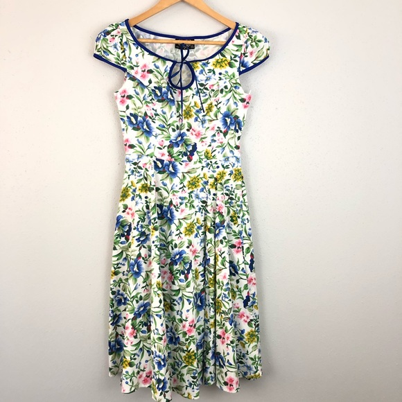 Hearts & Roses Dresses & Skirts - Hearts Roses London Swing Dress Blue Floral A Line